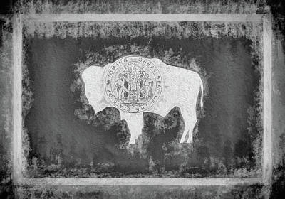 Digital Art - The Wyoming Flag Black And White by JC Findley