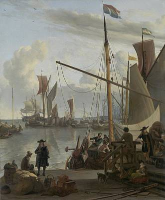 Painting - The Y At Amsterdam Seen From The Mosselsteiger  Mussel Pier Ludolf Bakhuysen  1673 by R Muirhead Art