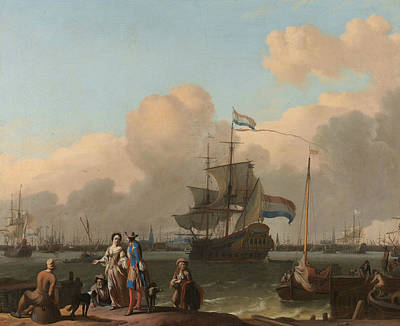 Painting - The Y At Amsterdam, With The Frigate De Ploeg by Ludolf Bakhuizen
