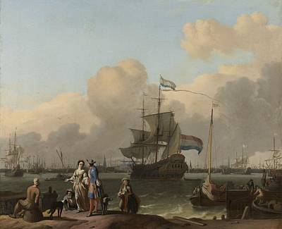 Painting - The Y At Amsterdam  With The Frigate  De Ploeg   Ludolf Bakhuysen 1680  1708 by R Muirhead Art