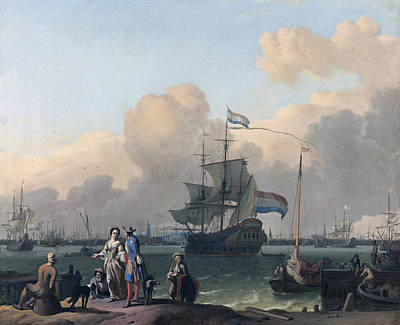 Painting - The Y At Amsterdam With The Frigate De Ploeg by Ludolf Bakhuysen