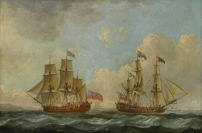 The Yacht Royal Charlotte In Two Positions Off The Coast Art Print by John Cleveley