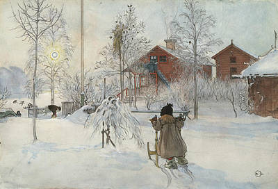 Painting - The Yard And Washhouse. From A Home by Carl Larsson