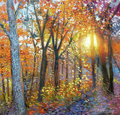 Painting - The Yard  Autumn by Gregg Hinlicky