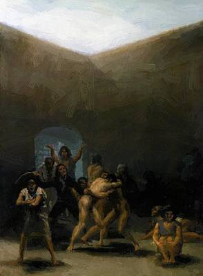 Painting - The Yard Of A Madhouse 1794 by Goya Francisco
