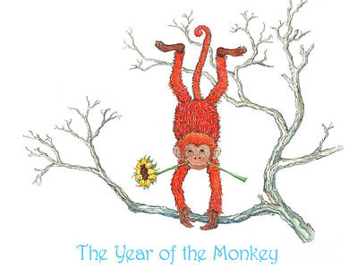 Year Of The Monkey Painting - The Year Of The Monkey by Nonna Mynatt