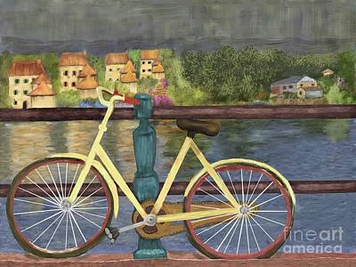 Digital Art - The Yellow Bicycle  by Sydne Archambault