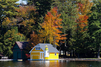 The Yellow Boathouse On Old Forge Pond Art Print by David Patterson