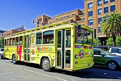 The Yellow Bus On  Embarcadero In San Francisco-califonria Art Print