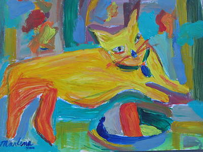 The Yellow Cat Art Print by Marlene Robbins