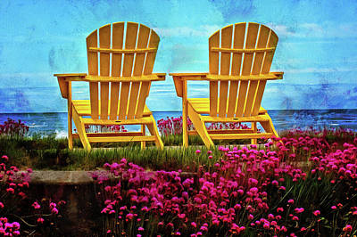 The Yellow Chairs By The Sea Art Print