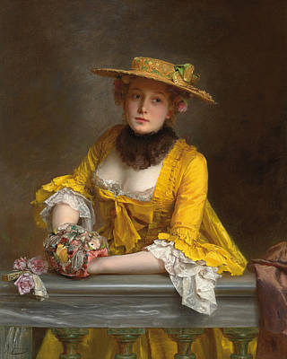 Silk Painting - The Yellow Dress by Gustave Jacquet