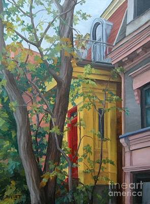 Quebec Streets Painting - The Yellow Entry Ave Laval by Rita-Anne Piquet
