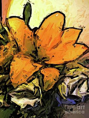 Digital Art - The Yellow Flowers And The White Roses Jvo2 by Jackie VanO