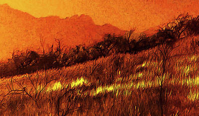 Digital Art - The Yellow Grass by Chuck Mountain