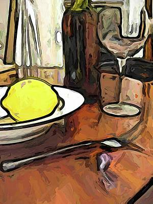 Digital Art - The Yellow Lemon In The Bowl With The Wine Glass by Jackie VanO
