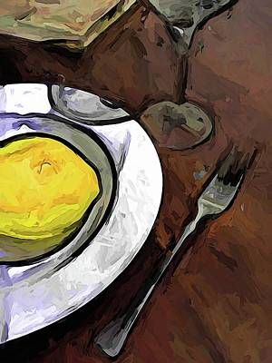 Digital Art - The Yellow Lemon In The White Bowl With The Fork by Jackie VanO