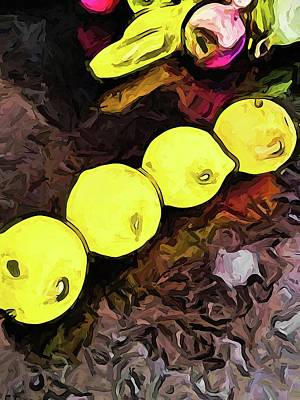 The Yellow Lemons In A Row And The Pink Apple Art Print