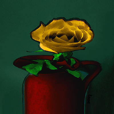 Digital Art - The Yellow Rose Painting by Miss Pet Sitter