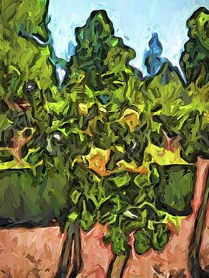 Digital Art - The Yellow Roses And The Green Trees by Jackie VanO