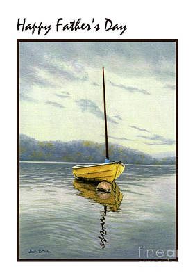 Boats In Water Drawing - The Yellow Sailboat- Father's Day Cards by Sarah Batalka