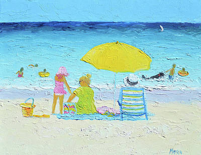 Painting - The Yellow Umbrella by Jan Matson