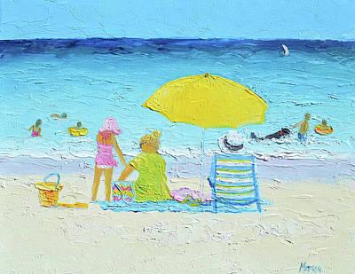 Painting - The Yellow Umbrella by Jan Matson