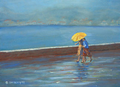 Mood Painting - The Yellow Umbrella by Jerry McElroy