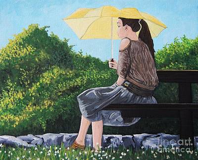 Quebec Painting - The Yellow Umbrella by Reb Frost