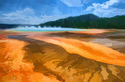 The Riverside Road Painting - The Yellowstone River  by Lanjee Chee