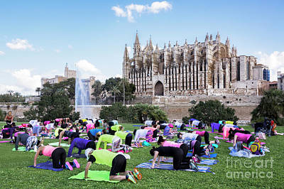 Superhero Ice Pop - The Yoga Class in front of the Palma Cathedral by Kenneth Lempert