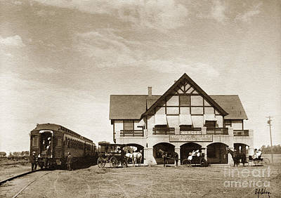 Photograph - The Yosemite Valley Railroad Yvrr Depot At  Merced California 1907 by California Views Mr Pat Hathaway Archives