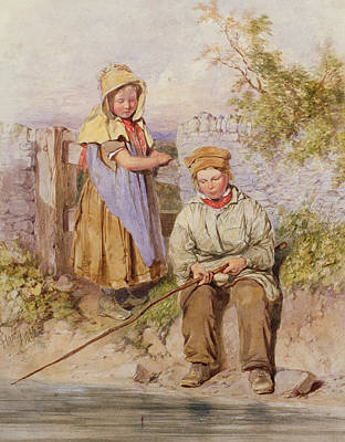 Dry Lake Painting - The Young Anglers by James Hardy Junior