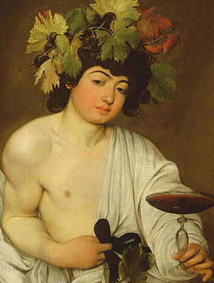 Vine Leaves Painting - The Young Bacchus by Caravaggio