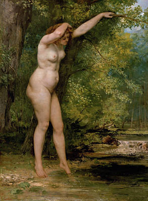 Bathing Painting - The Young Bather by Gustave Courbet