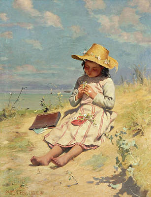 Little Girl On Beach Painting - The Young Botanist by Paul Peel