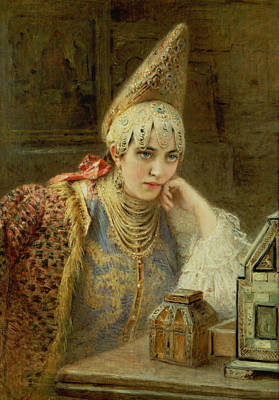 Desk Painting - The Young Bride by Konstantin Egorovich Makovsky