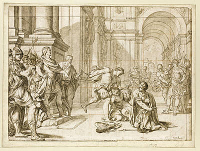 Drawing - The Young Cato Observing The Cruelty Of The Dictator Sulla by Giacomo Pavia