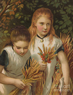 Sisters Painting - The Young Gleaners by English School