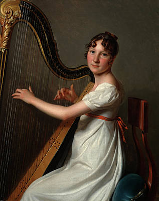 Painting - The Young Harpist by Louis Leopold Boilly