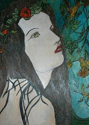 Colibri Painting - The Young Lady In The Country Of Hummingbirds  by Anne Bazabidila