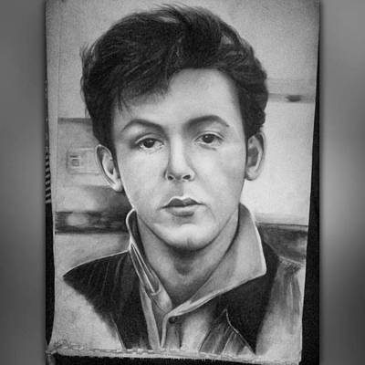 Fab Four Drawing - The Young Macca by Mean Mustard