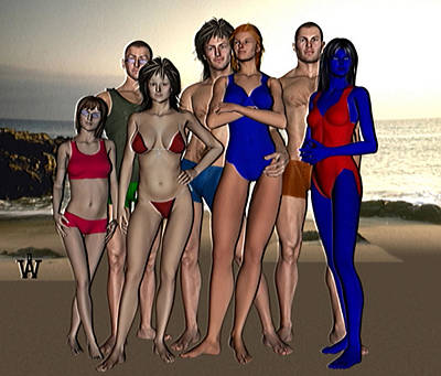 Depression Mixed Media - The Young Sadians At The Beach by Will Davis