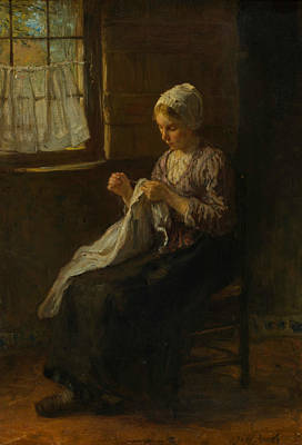 Seamstress Painting - The Young Seamstress by Jozef Israels