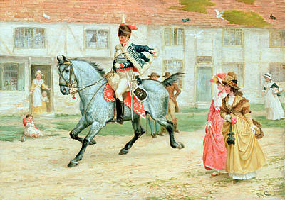 Horseback Painting - The Young Subaltern by Richard Cattermole