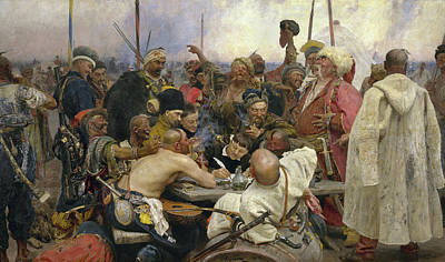 Writing Painting - The Zaporozhye Cossacks Replying To The Sultan by Ilya Repin