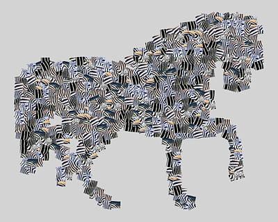 Footprint Digital Art - The Zebra Horse by Tommytechno Sweden