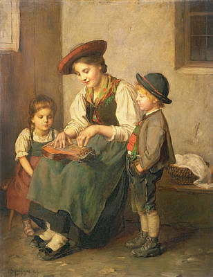 1835 Painting - The Zither Player by Franz von Defregger