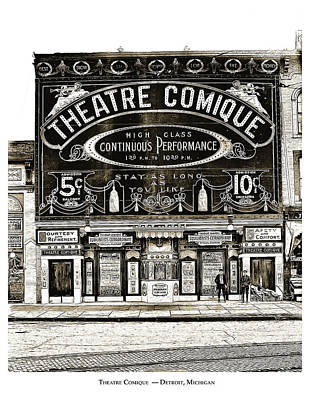 Detroit Wall Art - Drawing - Theatre Comique by Greg Joens
