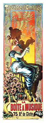 Mixed Media - Theatre D'ombres - Play Of Shadows - Vintage French Advertising Poster - La Boite A Musique by Studio Grafiikka
